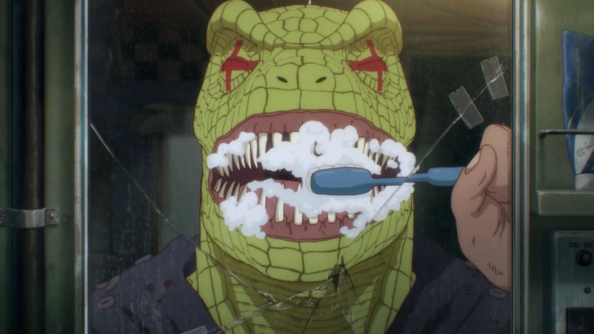 Caiman brushing his teeth