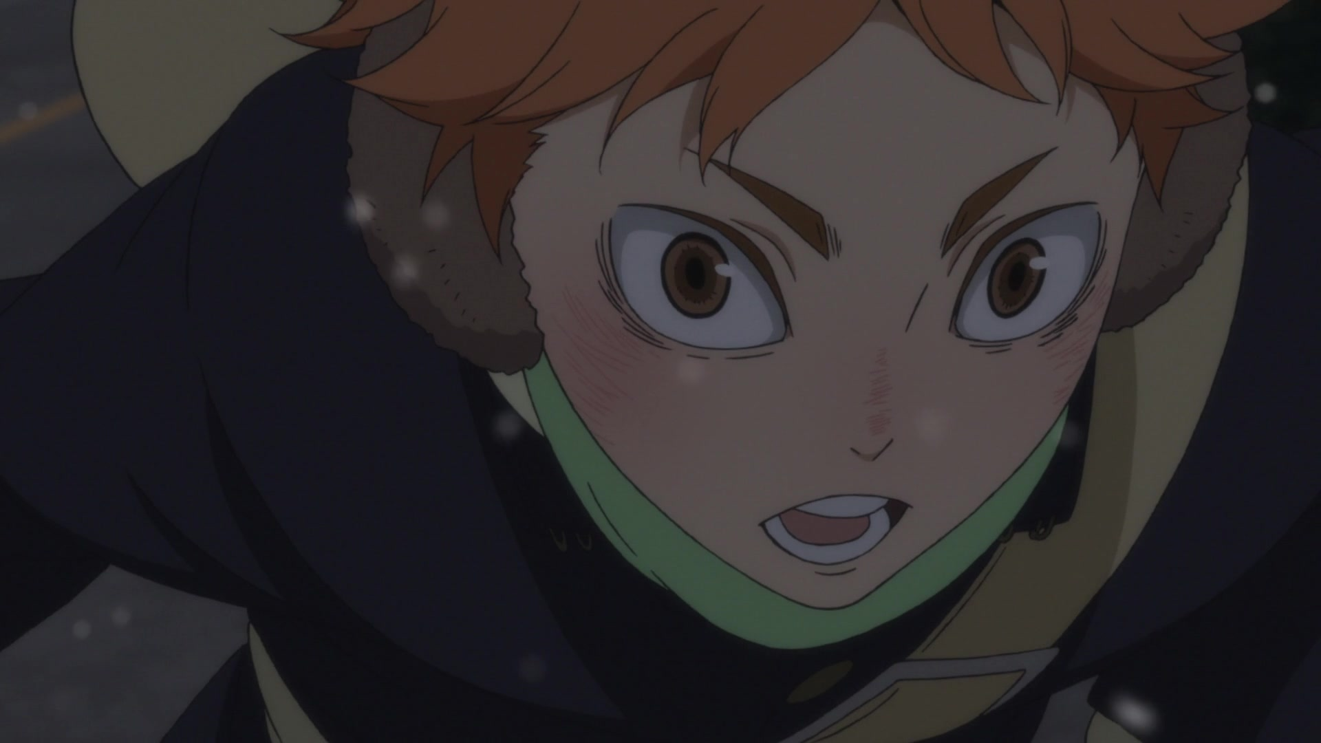 Hinata biking from Haikyuu!! Season 4 anime episode 1